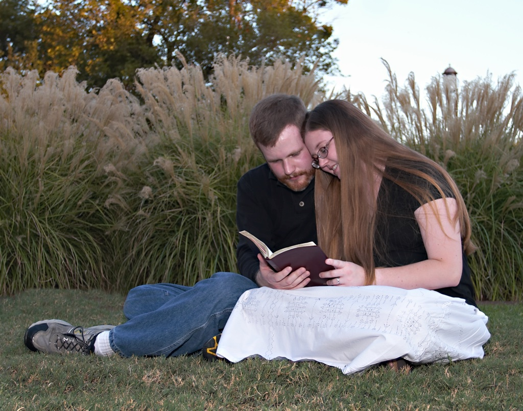 Ted and Megan reading the Bible in Fair Park